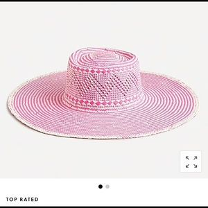 New J. Crew Woven Print Hat with Extra-Wide Brim